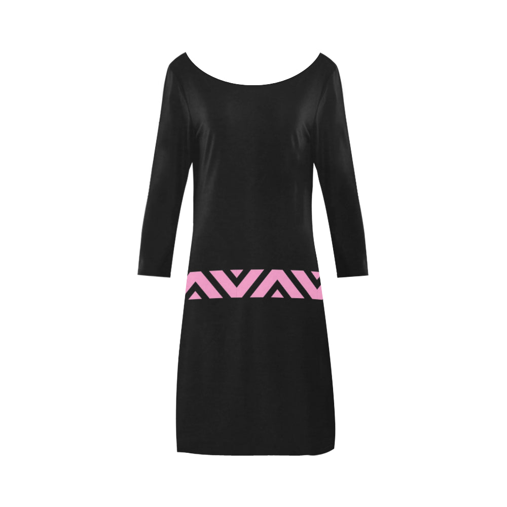 Pink and Black V Shaped Belt Design © Women's Boat Neck A-line Dress(Model D21)