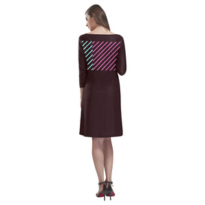 Maroon Teal and Pink Colour Lines © Loose Round Neck Dress(Model D22)