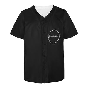 Black Jersey With White Survivor 1 Text In Circle Men's All Over Print Baseball Jersey (T50)