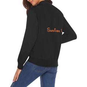 Survivor 1 Orange Text On Back ® Women's All Over Print Casual Jacket (Model H19)