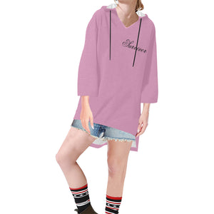 Pink With BlackSurvivor 1 Text Women's V-neck Step Hem Tunic Hoodie (Model H25)
