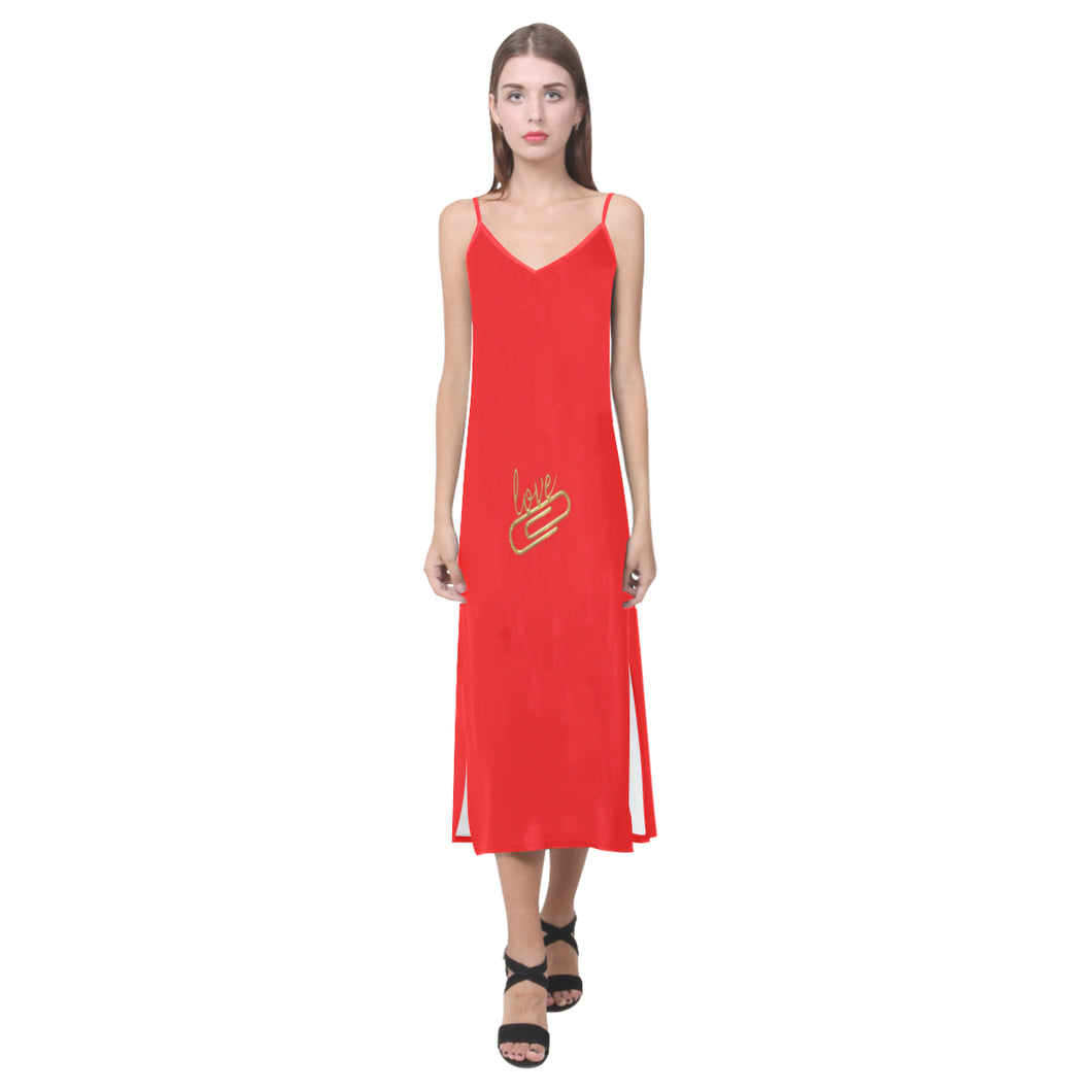Red Dress With Love Pin Design © V-Neck Open Fork Long Dress(Model D18)