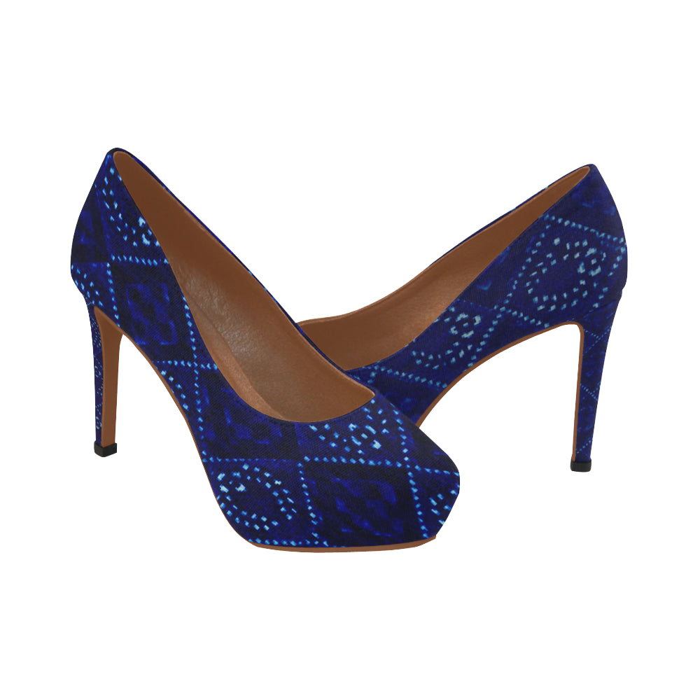 Blue And White Diamond Laurel Design © Women's High Heels (Model 044)
