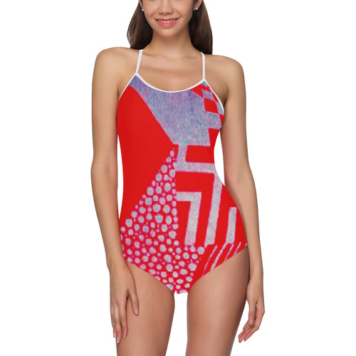 Red, Grey and White Abstract Design © Women's Slip One Piece Swimsuit (Model S05)