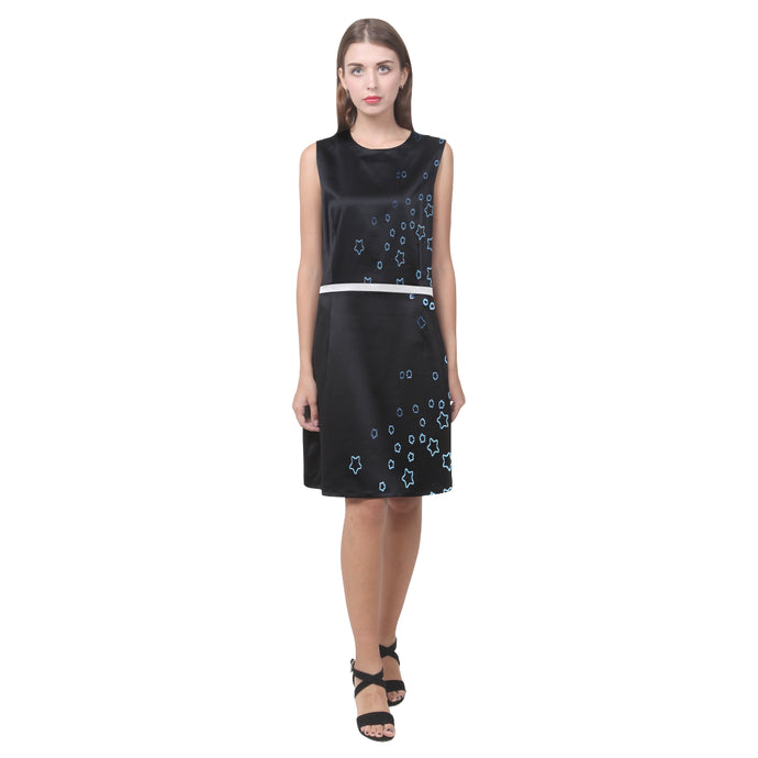 Black and White Star Design © Women's Sleeveless Dress (Model D01)