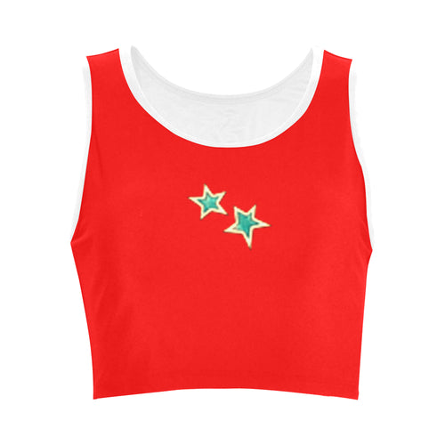 Red and Blue Stars © Women's Reversible Sports Bra (Model T42)