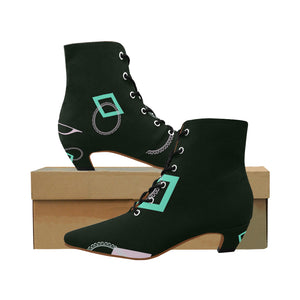 Music Note Pattern Design With Teal Triangles and White Circles Women's Chic Low Heel Lace Up Ankle High Boots (Model 052)