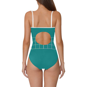 Blue and White Box Design © Women's Slip One Piece Swimsuit (Model S05)