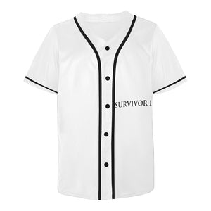White Jersey With Black Survivor 1 Text and Design Men's All Over Print Baseball Jersey (T50)