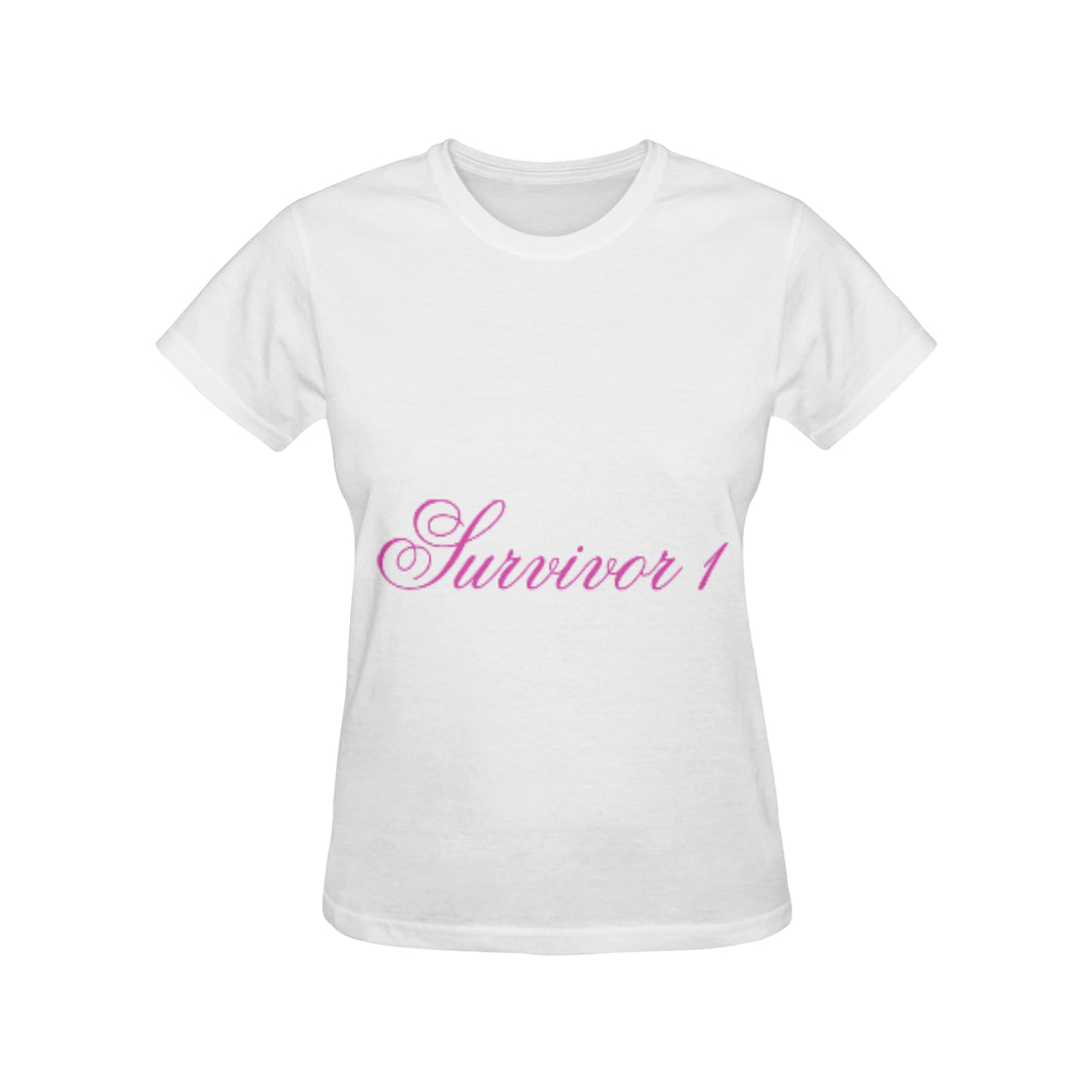 White and Pink Survivor 1 Text ® Women's All Over Print T-shirt (USA Size) (Model T40)