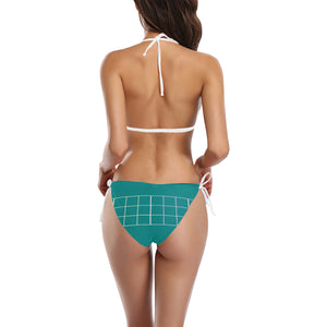 Teal and White Boxes Sexy Halter Bikini Swimsuit (Front Buckle) (Model S08)