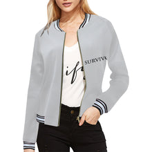 Grey Jacket With Black and White Survivor 1 Text ® Women's All Over Print Horizontal Stripes Jacket (Model H21)