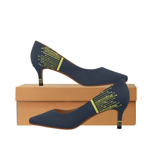 Prussian Blue and Yellow Drape Design Women's Pointy Toe Low Kitten Heel Pumps (Model 053)