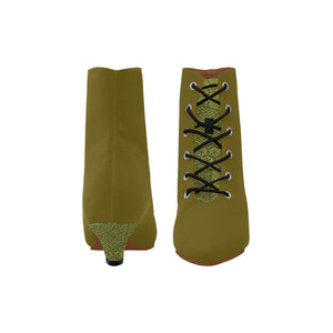 Mustard Boots With Intricate Design Patterns On the Tongue and Heals Women's Chic Low Heel Lace Up Ankle High Boots (Model 052)