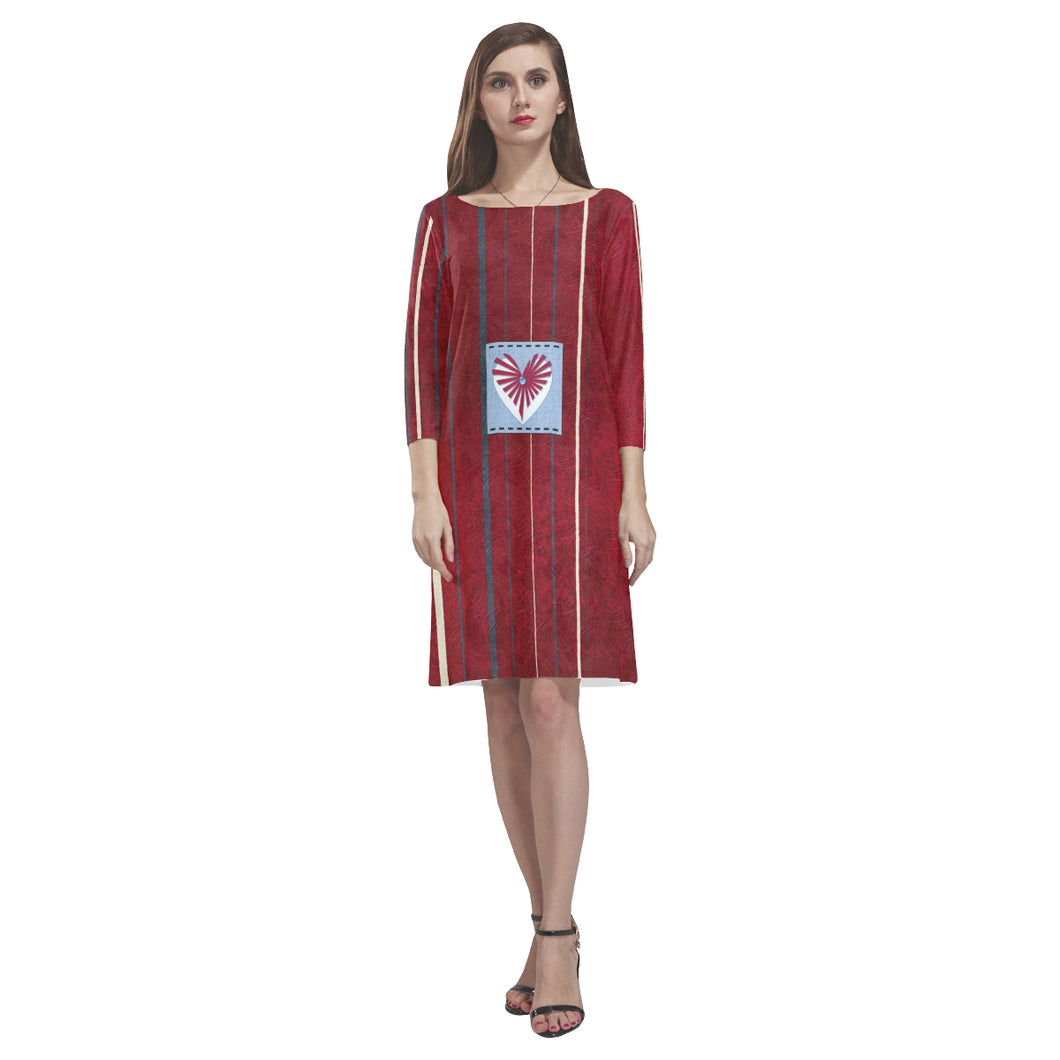 Red, White and Blue Heart Design © Loose Round Neck Dress(Model D22)