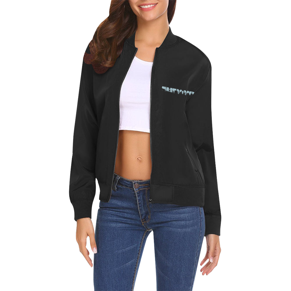 Survivor 1 Blue Text ® Women's All Over Print Casual Jacket (Model H19)