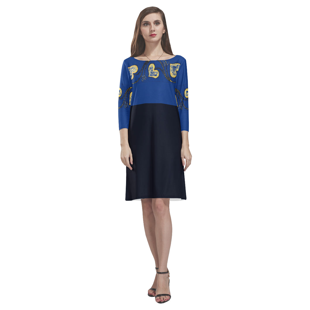Navy, Cobalt, Azure, Blue and Yellow Heart Design With Diamonds © Loose Round Neck Dress(Model D22)