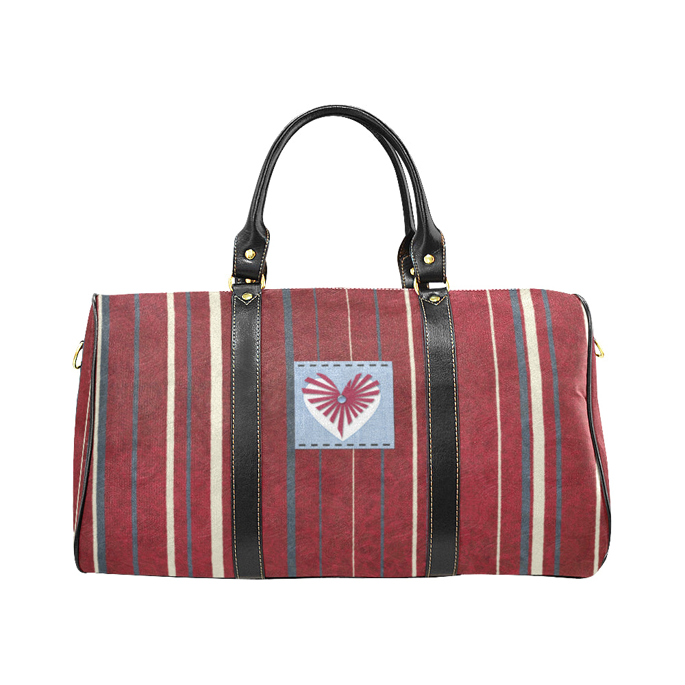 Red, Blue and White Colour Line and Heart Design © Travel Bag Black (Small) (Model1639)