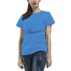 Blue Survivor 1 Text ® Women's All Over Print T-shirt (USA Size) (Model T40)