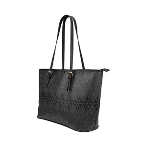 Grey and Black Floral Diamond Design Survivor 1 Leather Tote Bag (Model1651) (Big)