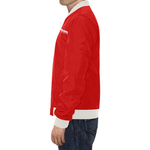 Red and White Survivor 1 Text ® Men's All Over Print Casual Jacket (Model H19) (Large Size)
