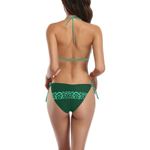 Emerald and Teal Swirl Design Sexy Halter Bikini Swimsuit (Front Buckle) (Model S08)