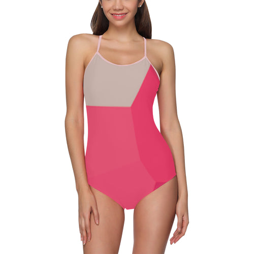 Pink and Grey Shades © Women's Slip One Piece Swimsuit (Model S05)
