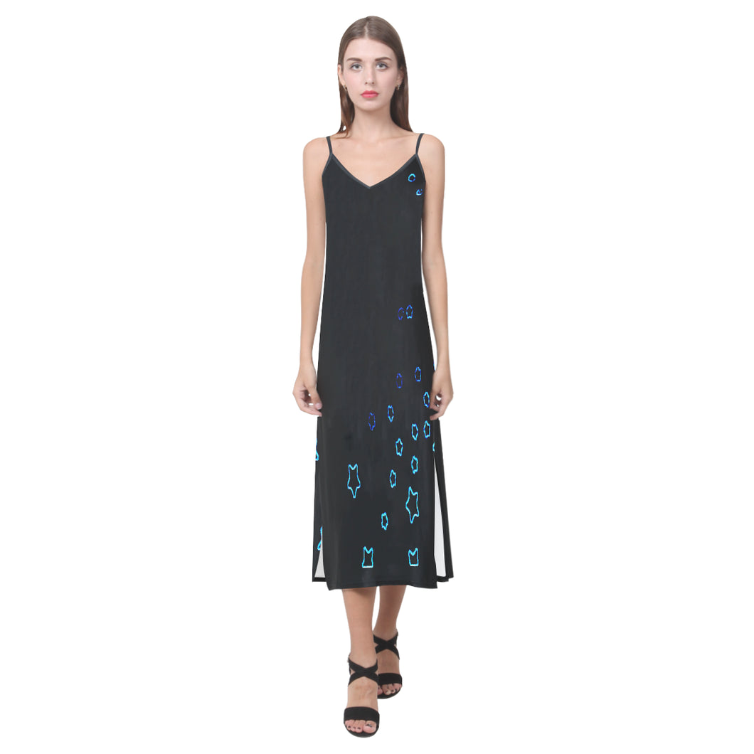 Black and Blue Stars © V-Neck Open Fork Long Dress(Model D18)