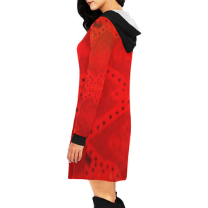 Red Beauty Design With a Black Hood Survivor 1 Women's All Over Print Hoodie Mini Dress (Model H27)