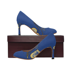 Blue and Yellow Heart Diamond Design Women's Pumps (Model 048)