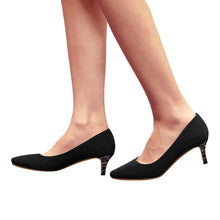 Black With Abstract Design On Heals Women's Pointy Toe Low Kitten Heel Pumps (Model 053)