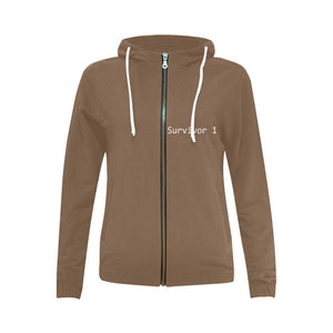 Brown Sweater With White Print Survivor 1 Text Women's All Over Print Full Zip Hoodie (Model H14)
