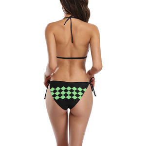 Black and Green Diamond Mint Design Sexy Halter Bikini Swimsuit (Front Buckle) (Model S08)