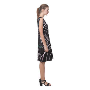 Black, White and Dark Green Abstract Design © Sleeveless Pleated Dress(Model D07)