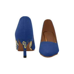 Blue and Yellow Diamond Heart Design © Women's Pointy Toe Low Kitten Heel Pumps (Model 053)