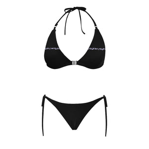 Black and White Swirl Design Sexy Halter Bikini Swimsuit (Front Buckle) (Model S08)