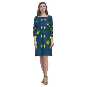 Blue, Yellow and Green Heart Design © Loose Round Neck Dress(Model D22)