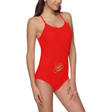 Red and Gold Pin With Text © Women's Slip One Piece Swimsuit (Model S05)