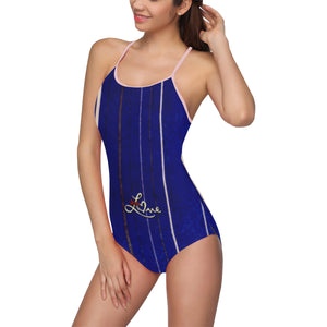 Blue Line Bathing Suit With Love Text © Women's Slip One Piece Swimsuit (Model S05)