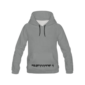 Grey With Black Text ® Men's All Over Print Hoodie Large Size (USA Size) (Model H13)