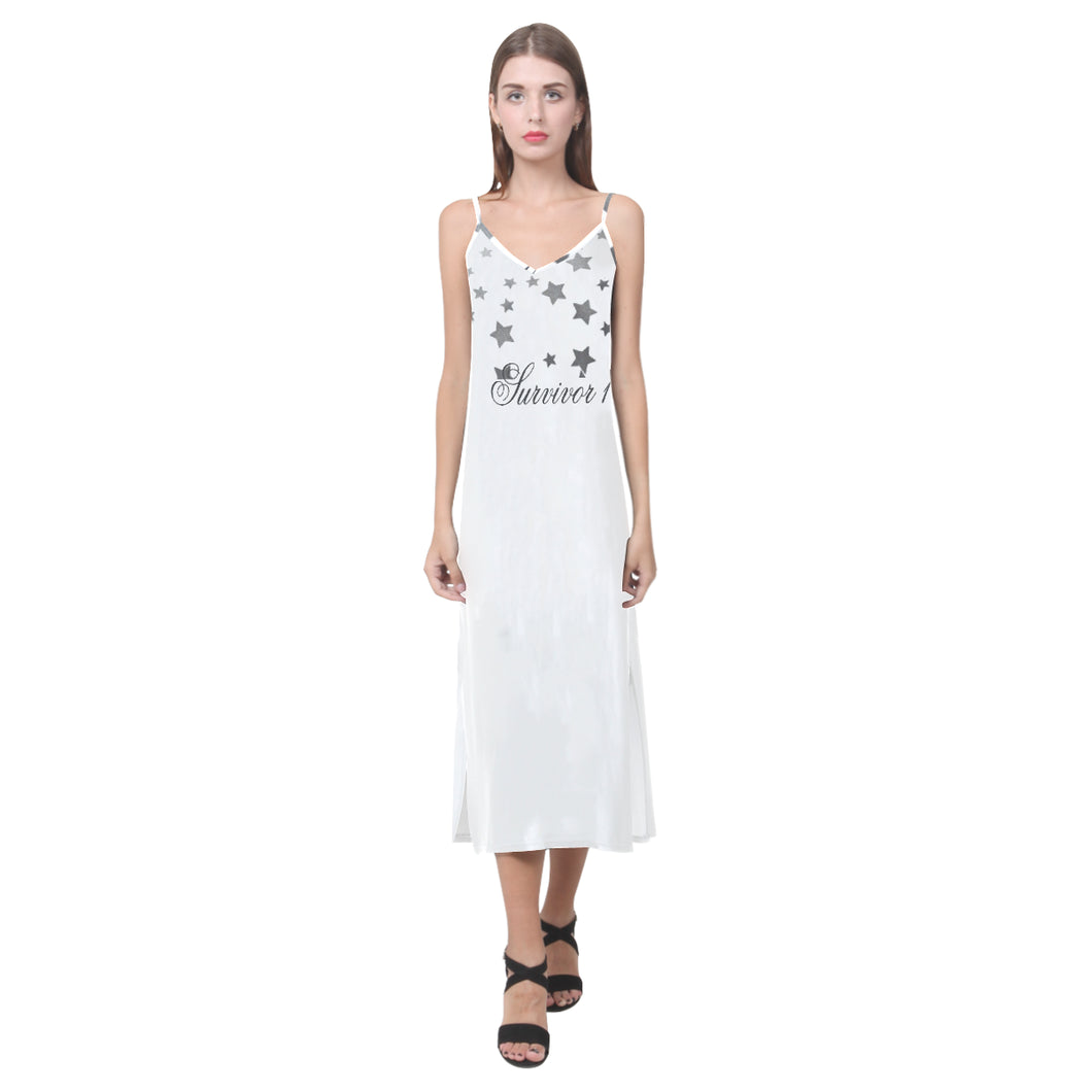White and Grey Star Design With Survivor 1 Text © V-Neck Open Fork Long Dress(Model D18)