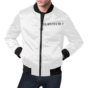 Black and White Survivor 1 Text ® Men's All Over Print Casual Jacket (Model H19) (Large Size)