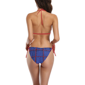 Blue, Black and Red Box Design Sexy Halter Bikini Swimsuit (Front Buckle) (Model S08)