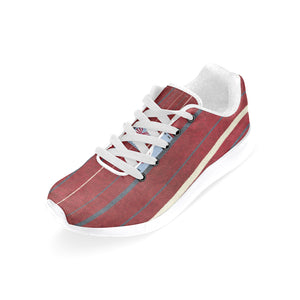 Blue, Red and White Design With Heart Design In Box On The Inside Of The Shoe Women's Sneakers (Model020) (Large Size)