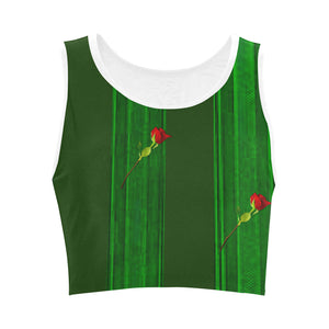Green Line and Red Roses © Women's Reversible Sports Bra (Model T42)