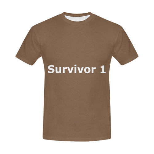 Brown and White With Survivor 1 Text ® Men's All Over Print T-shirt (USA Size) (Model T40)