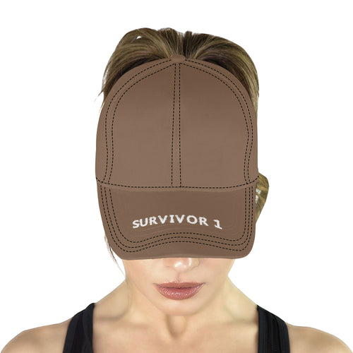 Brown Cap With White Printed Survivor 1 Text All Over Print Dad Cap