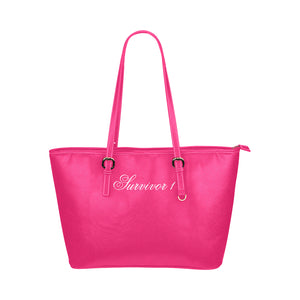 Pink Bag With White Survivor 1 Text Leather Tote Bag (Model1651) (Big)