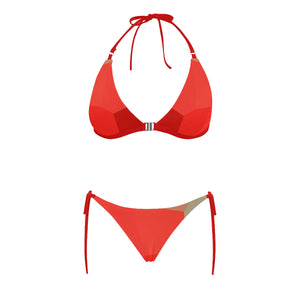 Orange and Red Shade Design Sexy Halter Bikini Swimsuit (Front Buckle) (Model S08)