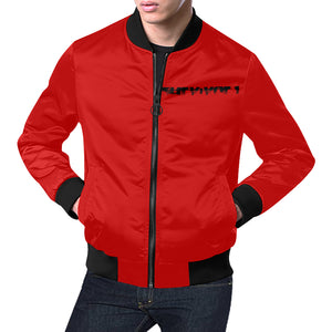 Red and Black Survivor 1 Text ® Men's All Over Print Casual Jacket (Model H19) (Large Size)